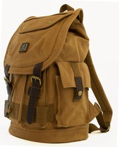 a21113eb9f Heavy Duty Canvas School Rucksack with Leather Trims