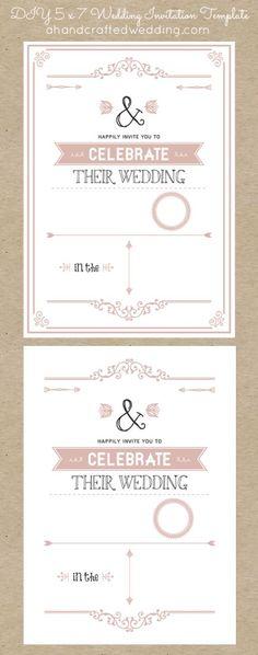 Invitaciones rústicas chic imprimibles para hacer tu misma 5x7 en rosa dorado - ahandcraftedwedding.com