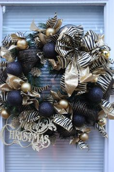 Animal Print Christmas Wreath  black and gold by WineandWreaths, .