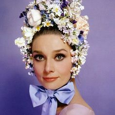 Audrey Hepburn photographed by Cecil Beaton, Happy Easter to everyone who celebrates! Audrey Hepburn, Flower Hats, Flower Crown, Cecil Beaton, First Day Of Spring, Easter Parade, Floral Fashion, Vintage Fashion, Women's Fashion
