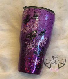 Custom Glitter Tumbler - Purple and black Glitter Tumbler - Ombre Glitter Tumbler - Butterfly Tumbler Glitter Cups, Glitter Vinyl, Black Glitter, Glitter Glasses, Glitter Bomb, Glitter Eye, Glitter Dress, Glitter Shoes, Purple Glitter