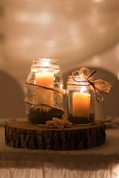 Sand pillar candles, jars, and twine...