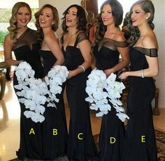 Black Mermaid bridesmaid dresses, Sexy Mismatched bridesmaid dress, Cheap bridesmaid dresses, Custom bridesmaid dresses, 17028 Women, Men and Kids Outfit Ideas on our website at 7ootd.com #ootd #7ootd