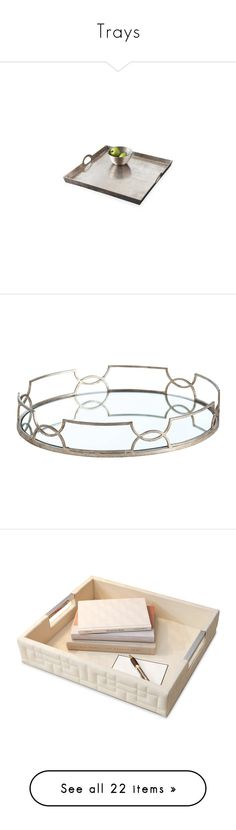"""""""Trays"""" by kathykuohome ❤ liked on Polyvore featuring tray, kathykuohome, trays, home, kitchen & dining, serveware, contemporary serving trays, square serving tray, leather tray and bone tray"""