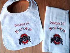 Ohio State University OSU Daddy's, Mommy's, Pappy's or Grandma's lil Buckeye Burp Cloth and Bib Set
