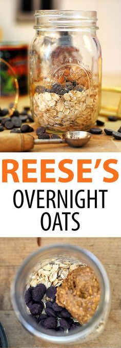 Reese's Peanut Butter Cup Overnight Oats! Healthy overnight oats made with peanut butter, chocolate, oats, and almond milk. Shake and go!