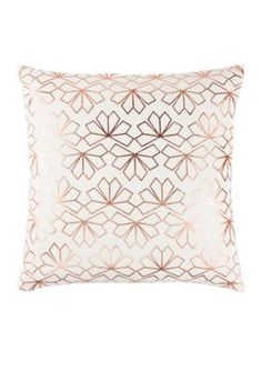 Rizzy Home Geometric Copper Decorative Filled Pillow. A shimmering copper geometric print makes this decorative pillow by Rizzy Home perfect for adding some shine to your home collection. Geometric Designs, Geometric Shapes, Copper Decor, Lumbar Throw Pillow, Cozy Living Rooms, White Beads, Light Beige, Home Collections, Damask