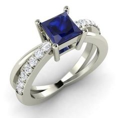 Princess-Cut Sapphire Engagement Ring in 14k White Gold with SI Diamond