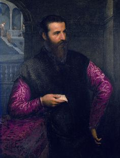 man with red sleeves by Paris Bordone, Italian, 1500-1571