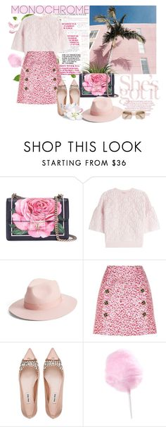 """""""Monochrome pink"""" by xenia-tsi ❤ liked on Polyvore featuring Dolce&Gabbana, Giambattista Valli, Lack of Color, Miu Miu, monochrome, pinks, pinkandgreen, pinkandwhite and monochromepink"""