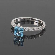 White gold topaz ring Topaz gold jewelry Blue by JewelryAsteria