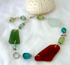Sea Glass Bracelet Sterling Silver Real Bahamian Seaglass