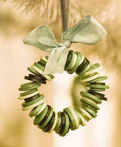 cute idea - new spin on the bead wreath ornaments we all made in school.