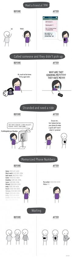 life before and after cellphones. I still live like before... so i have no friends... XD