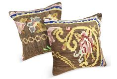 Antique   Rug Fragment Pillows, Pair