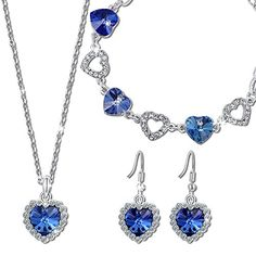 Qianse Heart of the Ocean Pendant Necklace Bracelet Earrings Jewelry Set Made with SWAROVSKI Crystal ** Want additional info? Click on the image. (Note:Amazon affiliate link)