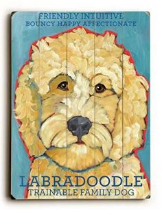 This Labradoodle wood sign by Artist Ursula Dodge is sure to bring style to your space and a smile on your face. Great gift for the Labradoodle lover.