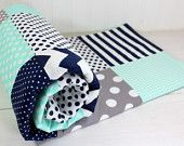 Baby Blanket, Boy Baby Blanket, Crib Blanket, Boy Nusery Decor, Mint Green, Seafoam, Navy Blue, Gray, Grey, Chevron, Dots, Stripes