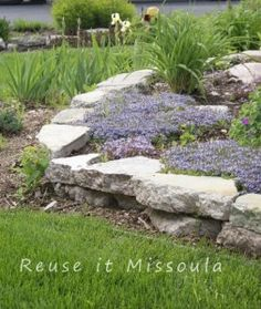 A pretty, easy, DIY garden retaining wall.