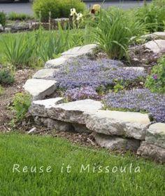 A pretty, easy, DIY garden retaining wall.