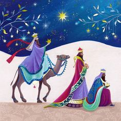 Purple colors displayed in the Three Wise Men - Christmas Card.
