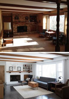 Living Room Remodel, My Living Room, Home And Living, Home Staging, Style At Home, Fixer Upper, White Family Rooms, Before After Home, House Makeovers