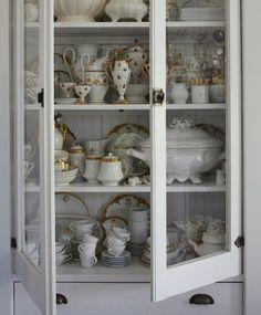 White painted china hutch