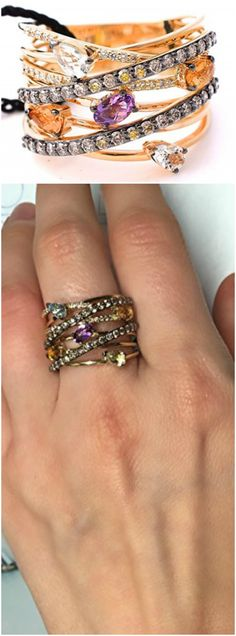 """Chocolate and Vanilla Diamonds Honey Golden Citrine, Amethyst, Topaz, Lemond Quartz Gladiator Multi Row/Layer Ring, NEW with tag Ring features: - 5 pear and oval shapes mix gemstones (may vary slightly from ring to ring), total of 1.19 ct - accented with 36 Chocolate and 25 Vanilla Diamonds total of 0.74 ct 14 kt solid yellow gold, very well made ring Approximate measurements of the ring: top to bottom 14-15.8 mm (0.55"""" - 0.62""""). Weight of the ring 7.7 - 8.7 grams Size 7.5 (size 7 available…"""