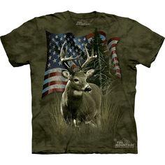 DEER FLAG T-SHIRT by The Mountain USA American America Hunting Adult Tee NEW! #deer #buck #hunting #usa #america