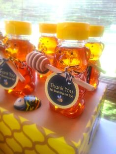 Honeybee thank you favors at a Bee Gender Reveal Party! See more party ideas at ! Gender Reveal Themes, Bee Gender Reveal, Baby Gender Reveal Party, Baby Reveal Party Ideas, Gender Reveal Gifts, Gender Party, Baby Shower Parties, Baby Shower Themes, Baby Boy Shower