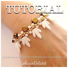Art Decó vintage bride style bracelet: Beading tutorial, PDF, Instant download, superduo, fire polish, daggers and czech seed beads.