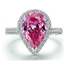 4.5CT Pear Cut Pink Sapphire Round Cut Russian Lab Diamond Ring – Joy Of London Jewels