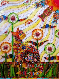 Солнечный кот. Витражи Картина петербургского художника Iris