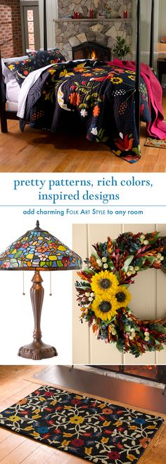 Folk Art Style in bright colors and cheerful designs