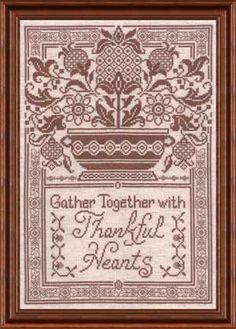 Thankful Hearts, counted cross-stitch