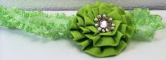 Lime Green Gingham Baby girl Headband accented with fabric flower, jeweled center. Perfect addition for your Baby pictures! by RockinRobinsBling on Etsy, $6.00