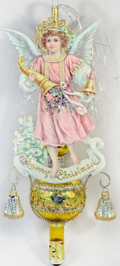 Pink Christmas Angel with Cornucopia on Large Gold Sphere Spire Topper DR8S308