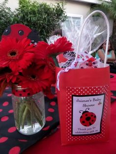ladybug favor bag n centerpiece