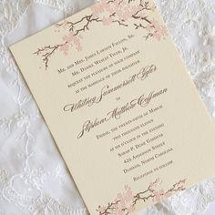 cherry blossom wedding invitations on Etsy, $6.00