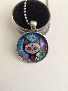 Sugar skull cat day of the dead photo pendant by TrailsWestTrading