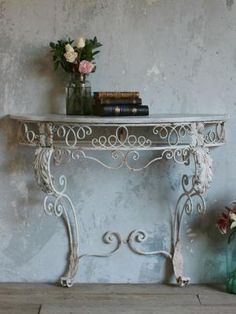 vintage wrought iron console table from the Bella Cottage