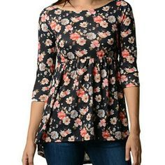 Floral 3/4 sleeve wide neck loose bottom blouse Black background, tag is not connected on one end Tops Blouses