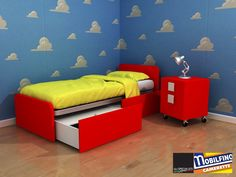 Storage bed design children VARIOUS COLORS made in italy bedroom MOBILFINO