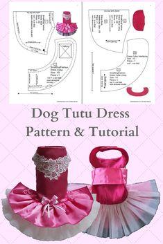 Dog tutu dress pattern & tutorial, PDF sewing Pattern for XSmall, Small Dog Pet Girl Dog Clothes, Puppy Clothes, Small Dog Clothes Patterns, Dog Wedding Dress, Pekinese, Dog Collar Bandana, Dog Tutu, Wedding Dress Patterns, Dog Pattern