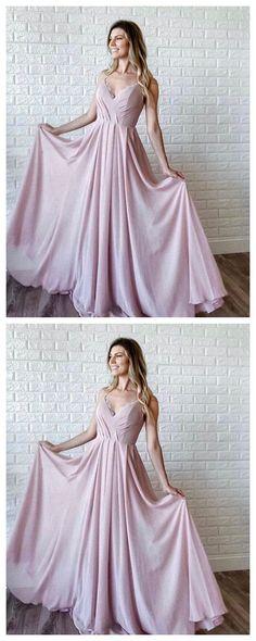 Pink chiffon v neck long prom dress pink long evening dress by olesaweddingdresses, $119.48 USD Prom Dresses Long Pink, Pink Bridesmaid Dresses, A Line Prom Dresses, Party Dresses, Pink Evening Dress, Formal Evening Dresses, Pink Dress, Dress Formal, Formal Prom