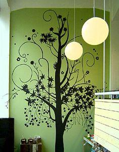 wall, tree, paint