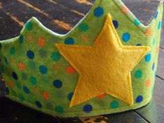 Children's Felt Crown, Green with polka dots and a star by HillsideHomestead on Etsy https://www.etsy.com/listing/256458182/childrens-felt-crown-green-with-polka