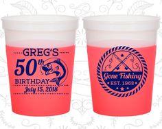 50th Birthday Mood Cups, Fisherman Birthday, Fishing Birthday, Birthday Color Changing Cups (20279) by MyWeddingStore on Etsy