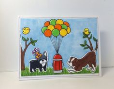 Lawn Fawn Critters at the Dog Park stamp set card idea.