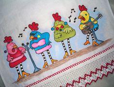 Pano de Copa Galinhas Cantoras Essas galinhas irão colorir sua cozinha! Pano estilotex, pintado a mão.Barrado em croche R$25,00